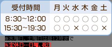 受付時間:平日午前8:30~12:00、午後15:30~19:30、水曜日、土曜日は昼12時まで。定休日:日曜日、祝日。